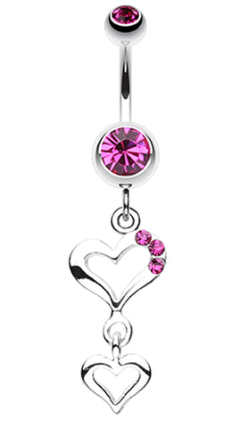 Duet Hearts Sparkle Belly Button Ring - 14 GA (1.6mm) - Fuchsia - Sold Individually