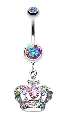 The Majestic Crown Belly Button Ring - 14 GA (1.6mm) - Clear - Sold Individually