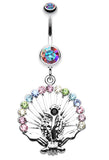 Peacock Gleam Belly Button Ring - 14 GA (1.6mm) - Aurora Borealis - Sold Individually
