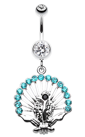 Peacock Gleam Belly Button Ring - 14 GA (1.6mm) - Clear/Teal - Sold Individually