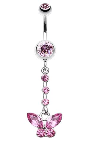 Butterfly Sparkly Belly Button Ring - 14 GA (1.6mm) - Light Pink - Sold Individually