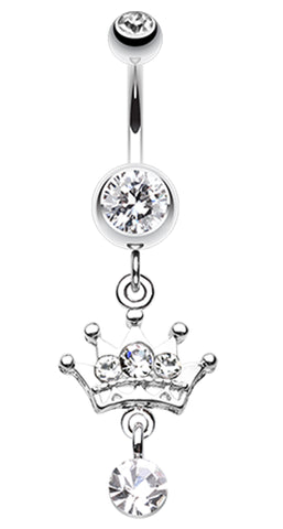 Crown Sparkle Belly Button Ring - 14 GA (1.6mm) - Clear - Sold Individually