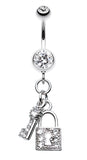 Glistening Lock and Key Belly Button Ring - 14 GA (1.6mm) - Clear - Sold Individually