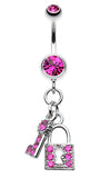 Glistening Lock and Key Belly Button Ring - 14 GA (1.6mm) - Fuchsia - Sold Individually