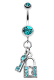 Glistening Lock and Key Belly Button Ring - 14 GA (1.6mm) - Teal - Sold Individually