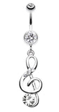 G-Clef Bling Belly Button Ring - 14 GA (1.6mm) - Clear - Sold Individually