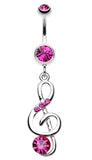G-Clef Bling Belly Button Ring - 14 GA (1.6mm) - Fuchsia - Sold Individually