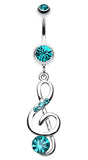 G-Clef Bling Belly Button Ring - 14 GA (1.6mm) - Teal - Sold Individually