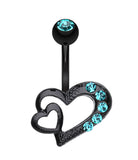 Blackline Heart on Heart Belly Button Ring - 14 GA (1.6mm) - Teal - Sold Individually