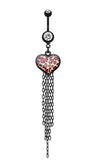 Wild Leopard Heart Belly Button Ring - 14 GA (1.6mm) - Clear - Sold Individually