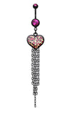 Wild Leopard Heart Belly Button Ring - 14 GA (1.6mm) - Fuchsia - Sold Individually