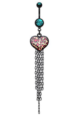 Wild Leopard Heart Belly Button Ring - 14 GA (1.6mm) - Teal - Sold Individually