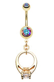 Golden Colored Promise Belly Button Ring - 14 GA (1.6mm) - Aurora Borealis - Sold Individually