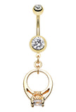 Golden Colored Promise Belly Button Ring - 14 GA (1.6mm) - Clear - Sold Individually
