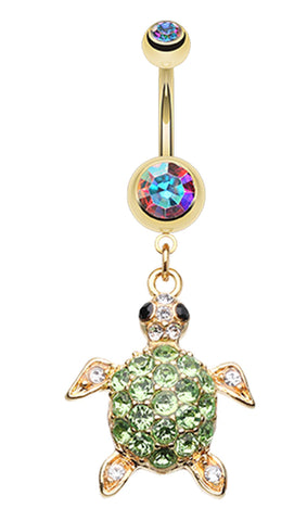 Golden Colored Sea Turtle Belly Button Ring - 14 GA (1.6mm) - Aurora Borealis - Sold Individually
