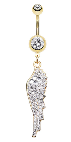 Golden Colored Divine Angelic Wing Belly Button Ring - 14 GA (1.6mm) - Clear - Sold Individually