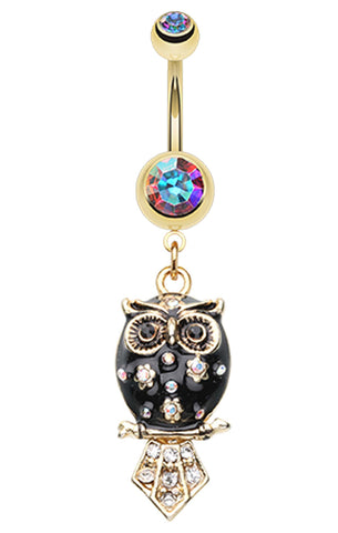Golden Colored Blossom Owl Belly Button Ring - 14 GA (1.6mm) - Aurora Borealis/Black - Sold Individually