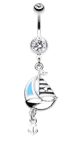 Classic Sail Boat Anchor Dangle Belly Button Ring - 14 GA (1.6mm) - Clear - Sold Individually