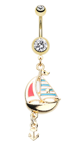 Golden Colored Sail Boat Anchor Dangle Belly Button Ring - 14 GA (1.6mm) - Clear - Sold Individually