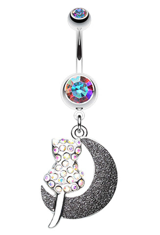 Moonlight Dream Kitty Belly Button Ring - 14 GA (1.6mm) - Aurora Borealis - Sold Individually