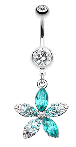 Radiant Spring Beauty Flower Belly Button Ring - 14 GA (1.6mm) - Clear/Teal - Sold Individually