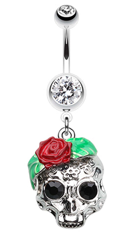 Rose Ornate Sugar Skull Belly Button Ring - 14 GA (1.6mm) - Clear - Sold Individually