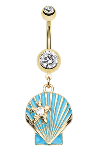 Ariel's Shell Dangle Belly Button Ring - 14 GA (1.6mm) - Clear - Sold Individually