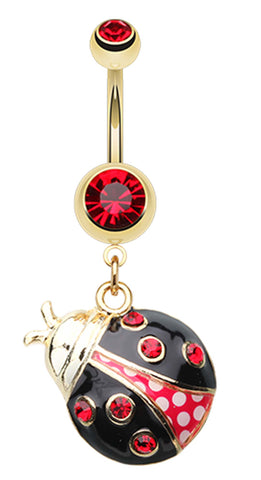 Golden Colored Charming Ladybug Belly Button Ring - 14 GA (1.6mm) - Red/Black - Sold Individually