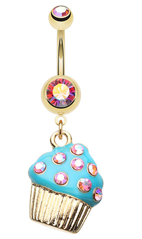 Sweet Frosted Cupcake Belly Button Ring - 14 GA (1.6mm) - Pink/Aurora Borealis/Teal - Sold Individually