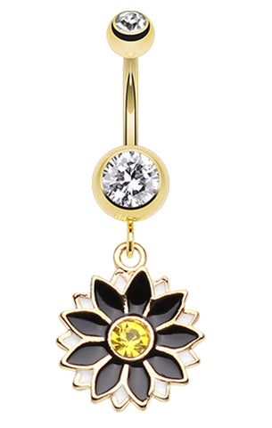 Golden Colored Daisy Blossom Flower Belly Button Ring - 14 GA (1.6mm) - Clear/Black - Sold Individually