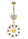 Golden Colored Daisy Blossom Flower Belly Button Ring - 14 GA (1.6mm) - Clear/White - Sold Individually