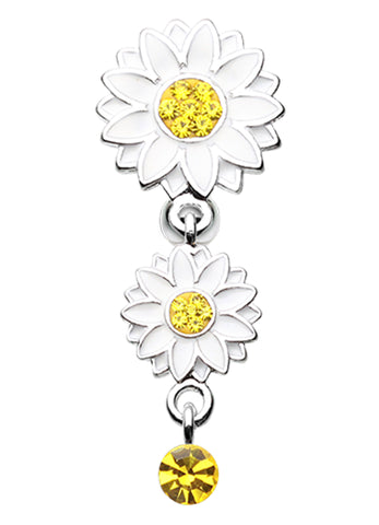 Beach Sunflower Reverse Belly Button Ring - 14 GA (1.6mm) - Yellow - Sold Individually