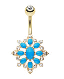 Golden Colored Roesia Ornate Multi-Glass-Gem Belly Button Ring - 14 GA (1.6mm) - Clear/Blue - Sold Individually