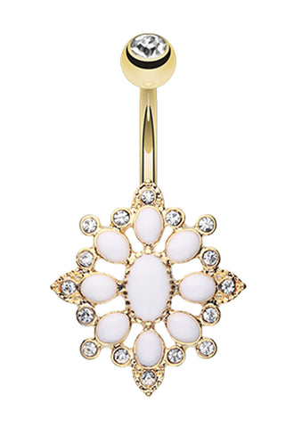 Golden Colored Roesia Ornate Multi-Glass-Gem Belly Button Ring - 14 GA (1.6mm) - Clear/White - Sold Individually