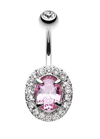 Grand Sparkle Prong Glass-Gem Belly Button Ring - 14 GA (1.6mm) - Clear/Pink - Sold Individually
