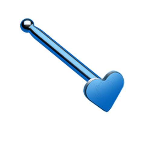 Colorline 316L Surgical Steel Heart Nose Stud Ring - 20 GA (0.8mm) - Blue - Sold as a Pair