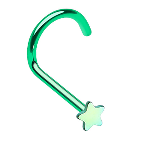 Colorline Star Nose Screw Ring - 20 GA (0.8mm) - Green - Sold as a Pair