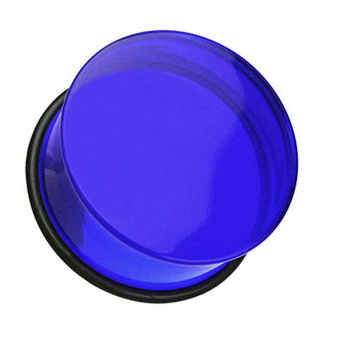 Acrylic Single Flared Ear Gauge Plug - 00 GA (10mm) - Blue - Sold as a Pair