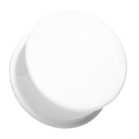 Acrylic Single Flared Ear Gauge Plug - 10 GA (2.4mm) - White - Sold as a Pair