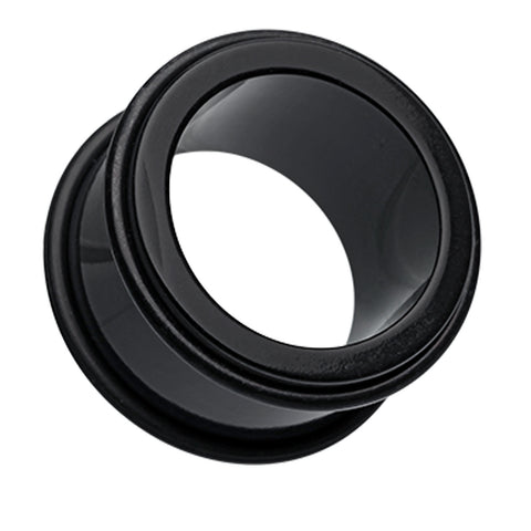 "Acrylic No Flare Ear Gauge Tunnel Plug - 23/32"" (18mm) - Black - Sold as a Pair"