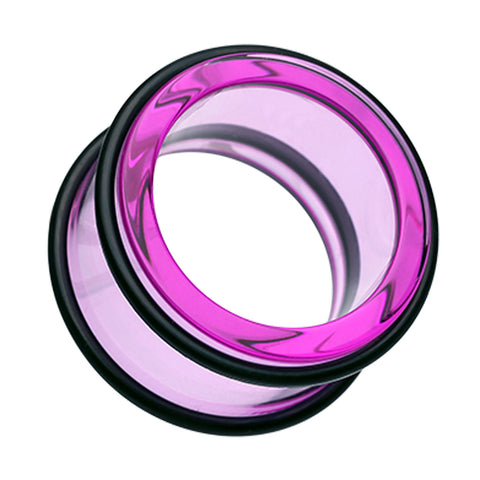 Acrylic No Flare Ear Gauge Tunnel Plug - 10 GA (2.4mm) - Purple - Sold as a Pair