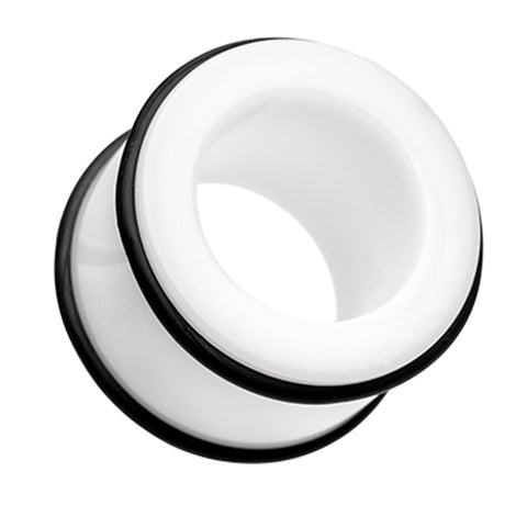 "Acrylic No Flare Ear Gauge Tunnel Plug - 23/32"" (18mm) - White - Sold as a Pair"