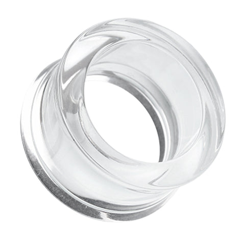 Acrylic Double Flared Ear Gauge Tunnel Plug - 10 GA (2.4mm) - Clear - Sold as a Pair