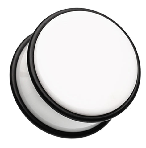 "Acrylic No Flare Ear Gauge Plug - 3/4"" (19mm) - White - Sold as a Pair"