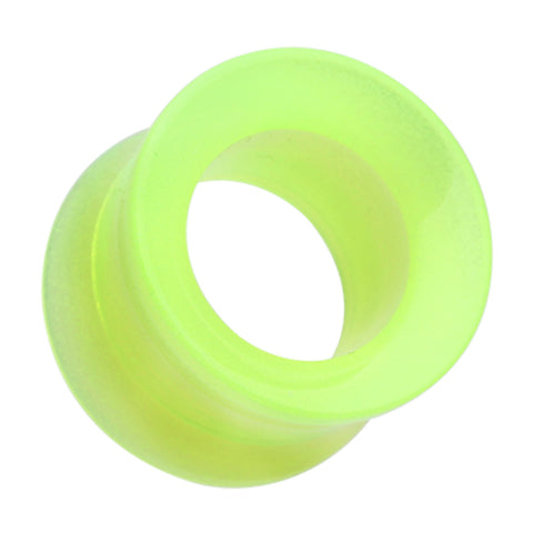"Glow in the Dark Acrylic Double Flared Ear Gauge Tunnel Plug - 1/2"" (12.5mm) - Green - Sold as a Pair"
