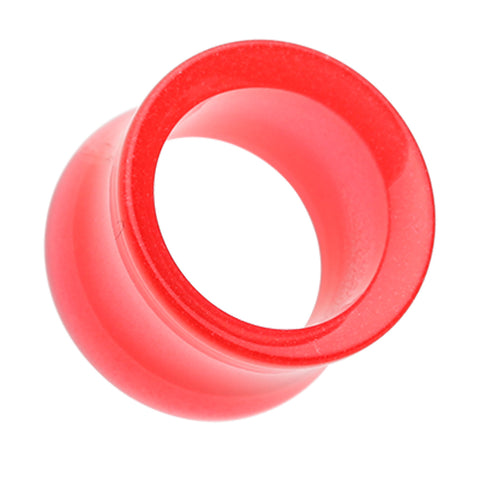 "Glow in the Dark Acrylic Double Flared Ear Gauge Tunnel Plug - 1"" (25mm) - Red - Sold as a Pair"