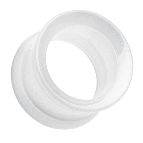 Glow in the Dark Acrylic Double Flared Ear Gauge Tunnel Plug - 6 GA (4mm) - White - Sold as a Pair