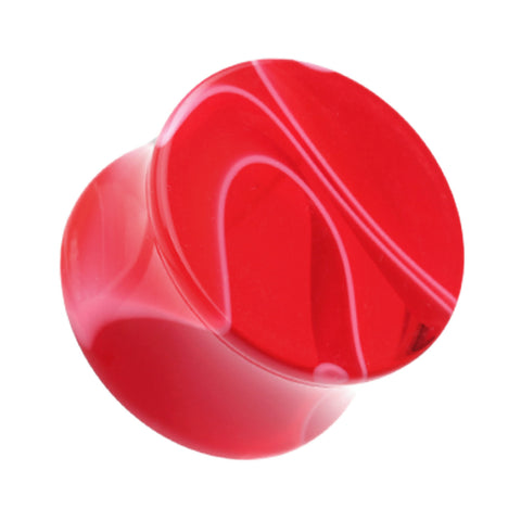 Marbled Swirl Acrylic Double Flared Ear Gauge Plug - 4 GA (5mm) - Red - Sold as a Pair