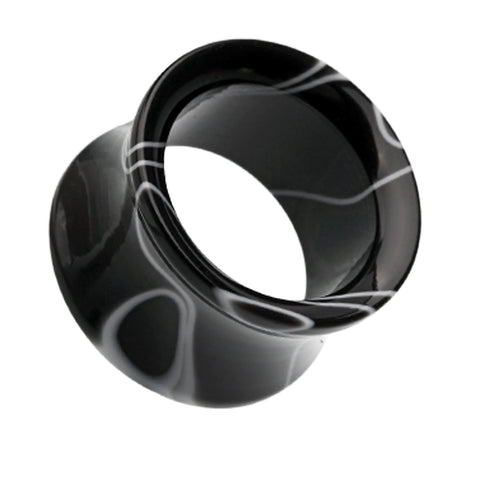 Marbled Swirl Acrylic Double Flared Ear Gauge Tunnel Plug - 00 GA (10mm) - Black - Sold as a Pair