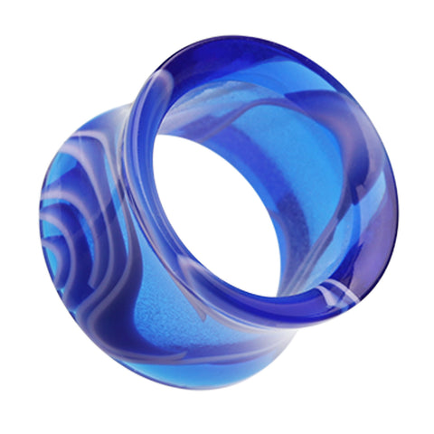 Marbled Swirl Acrylic Double Flared Ear Gauge Tunnel Plug - 8 GA (3.2mm) - Blue - Sold as a Pair